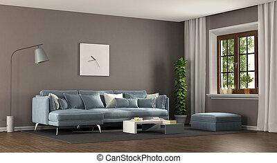 blu, brązowy, elegancki, pokój, żyjący