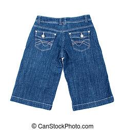 blu breve, isolato, fondo, jean, bianco
