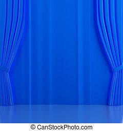 blu, brillantemente, scena, tenda, teatrale