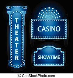 blu, brillantemente, teatro, cinema, segno neon, ardendo, retro