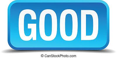 blu, buono, bottone, isolato, realistico, quadrato, 3d