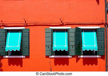 blu, burano, windows, tre, parete, arancia, baldacchino, rosso