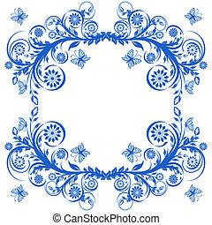 blu, butterflies., cornice, illustrazione, vettore, floreale