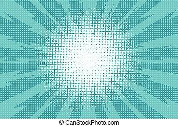 blu, c, raggi, arte, pop, lampo, che esplode, retro, fondo