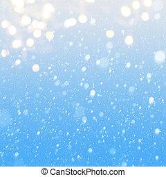 blu, cadere, arte, neve, fondo
