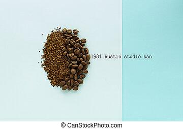 blu, caffè, carta, fagioli