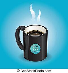 blu, caffè, sfondo nero, tazza