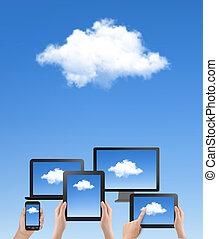 blu, calcolare, concept., cielo, mano, vector., cloud., nube bianca