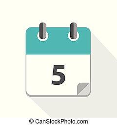 blu, calendario, 5, affari, icona
