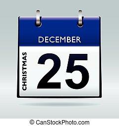 blu, calendario, giorno natale