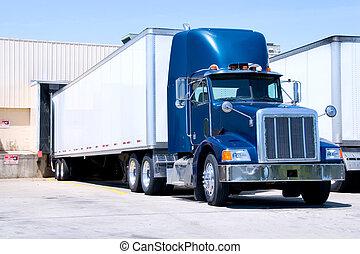 blu, camion, a, bacino