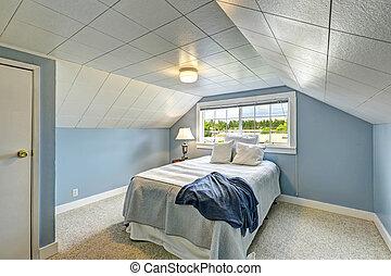 blu, campagna, casa, bedroom., luce, interno