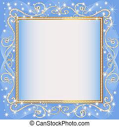 blu, campione, cornice, fondo, gold(en)(en)