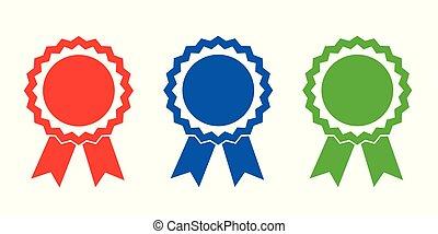 blu, campione, premio, verde, medaglie, rosso