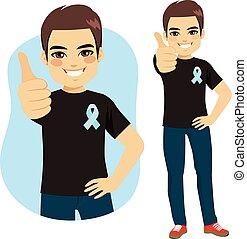 blu, cancro prostata, nastro, uomo