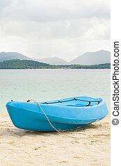 blu, canoa, spiaggia