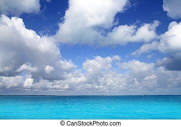 blu, caraibico, orizzonte, cielo, vacanza, mare, giorno