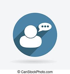 blu, carattere, avatar, dialogue., cerchio, shadow., icona