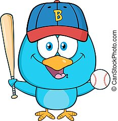 blu, carattere, uccello, felice