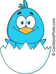 blu, carattere, uccello, sorpreso