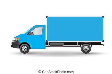blu, carico, furgone, città, commerciale, eps, illustrazione, isolato, consegna, fondo., vettore, camion, veicolo, bianco, template., 10