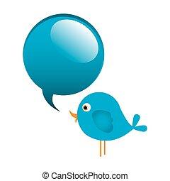 blu, carino, animale, cartone animato, dialogo, bolla, uccello, icona