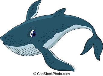 blu, carino, balena, cartone animato