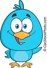 blu, carino, carattere, uccello, ondeggiare