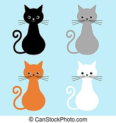 blu, carino, differente, gatti, isolato, illustrazione, gatto, fondo., vettore, collezione, animali domestici, facce, casa, colors.