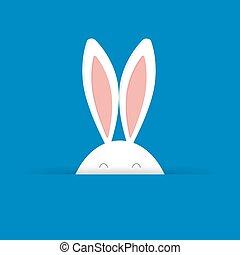 blu, carino, illustration., vettore, fondo, coniglietto pasqua