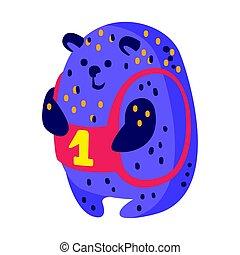 blu, carino, indaco, colorito, sitting., teddy, carattere, numero, orso, uno, divertente, vettore, illustrazione, animale, bello, cartone animato