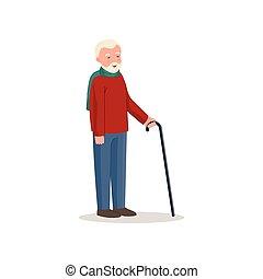blu, carino, maglione, uomo senior, sorridente, pantaloni rossi