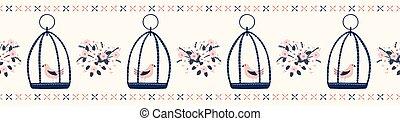 blu, carino, mazzolino, primavera, corallo, margherita, mano, birdcage, disegnato