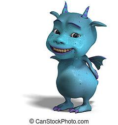 blu, carino, piccolo diavolo, toon, drago