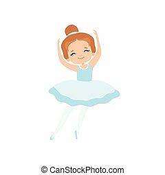 blu, carino, poco, ballo, ballerina, ballerino, luce, carattere, balletto, illustrazione, tutu, vettore, ragazza, vestire