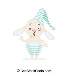 blu, carino, poco, girly, coccolare, stripy, carattere, vita, illustrazione, coniglietto, cappello, notte, situazione, bianco, cartone animato