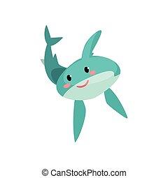 blu, carino, squalo, divertente, illustrazione, faccia, vettore, characte, fondo, bianco, cartone animato