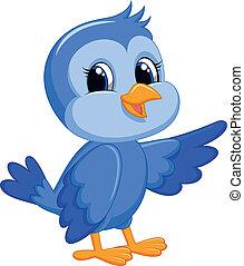 blu, carino, uccello, cartone animato