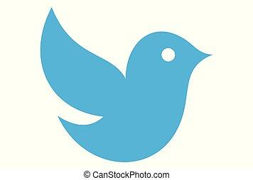 blu, carino, vettore, uccello, logotipo