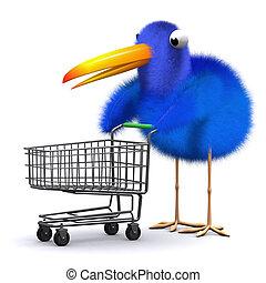 blu, carrello, shopping, uccello, 3d