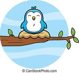 blu, cartone animato, uccello