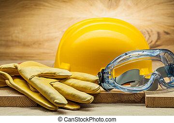 blu, casco, lavorativo, cuoio, giallo, occhiali protezione, guanti, trasparente