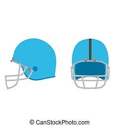 blu, casco, set, football, isolato, illustrazione, apparecchiatura, americano, vettore, bianco, sport, icona