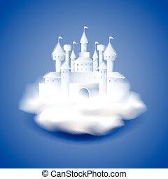 blu, castello, vettore, fondo, aria
