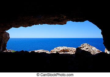 blu, caverna, formentera, barbaria, mare, buco, vista
