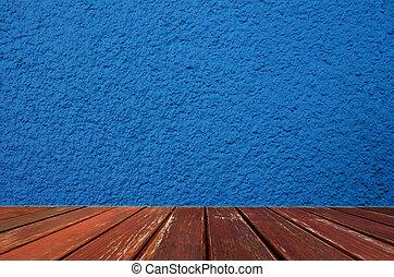 blu, cemento, parete, con, pavimento legno