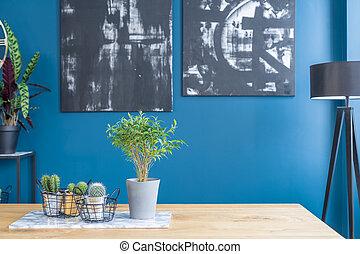 blu, cenando, interno, stanza, dipinti