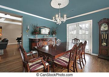 blu, cenando, pareti, stanza