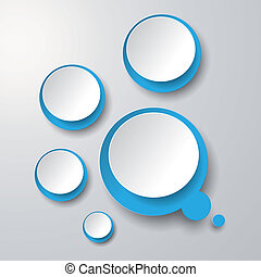 blu, cerchi, bianco, bolla, pensiero