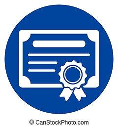 blu, cerchio, certificato, icona